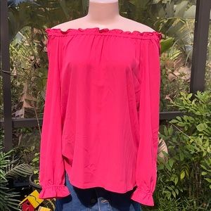 RSVP by Talbots hot pink off the shoulder top